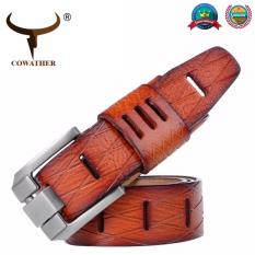 Buying Cowather Men 100 Top Cow Leather Belt Vintage Distressed Waist Belts With Single Prong Bridle Buckle Men S Fashion Waist Strap Casual Jeans Waistband Size For 28 44 Inches