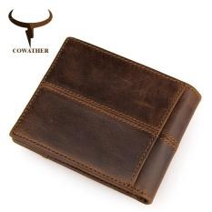 Best Deal Cowather 100 Top Cow Genuine Leather Wallet Rfid Front Pocket Wallet Bi Fold Hipster Splice Purse Slim Credit Card Holder Intl