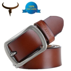 Buy Cowather 2017 Fashion Men Leather Belt 100 Cow Genuine Leather Belts Fashion Classical Alloy Pin Buckle Male Belts Strap Width 1 1 2 Brown Intl Cowather Original