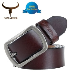 Promo Cowather 2017 Fashion Men Leather Belt 100 Cow Genuine Leather Belts Fashion Classical Alloy Pin Buckle Male Belts Strap Width 1 1 2 Coffee Intl