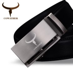 Price Cowather Men S Automatic Buckle Bet 100 Cow Genuine Leather Belt Solid Buckle Strap Causal With Automatic Leather Ratchet Belt For Men New Alloy Buckle Black S Xxl Intl China