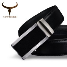 Cheap Cowather Men S Automatic Buckle Bet 100 Cow Genuine Leather Belt Solid Buckle Strap Causal With Automatic Leather Ratchet Belt For Men New Alloy Buckle Black S Xxl Intl