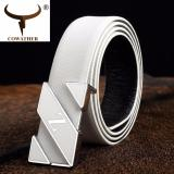 Latest Cowather Men S Fashion Leather Belt With Smooth Buckle Male Waist Belt Casual Waistband Men S Letter Z Leather Belt