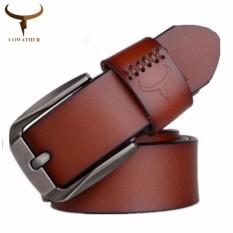 Cowather Men S Top 100 Cow Genuine Leather Ratchet Dress Belts Tali Pinggang Kulit Asli Untuk Lelaki Men Alloy Pin Buckle Leather Strap Belt Wide 1 1 2 Size Xxs Xxl Intl Free Shipping