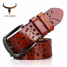 New Cowather Women Top 100 Cow Genuine Leather Dress Belt With Hollow Pressed Flower Strap Gray Buckle Belts Wanita Atas Sabuk Kulit Asli Lembu Brown 120Cm Intl