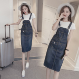 Sale Women S Korean Style Mid Length Denim Dress