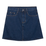 Best Reviews Of Cowboy Solid Spring And Summer New Style Half Length Skirt Dark Blue Color
