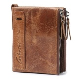 Lowest Price Crazy Horse Leather Double Zip Wallet Wallet Wallet Wallet Men S Leather Coin Purse Intl