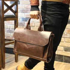 Korean Style Horse Leather Business Briefcase Men S Bag Coffee Color Compare Prices