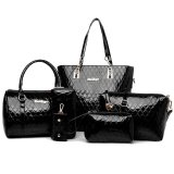 Croc Pattern Black Set Of 6 Pcs Faux Leather Shoulder Crossbody Tote Clutch Pouch Bags Key Holder Lower Price
