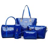 Cheapest Croc Pattern Blue Set Of 6 Pcs Faux Leather Shoulder Crossbody Tote Clutch Pouch Bags Key Holder Online