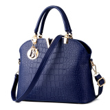 Recent Crocodile Pattern Shell Bag Shoulder Messenger Bag Women Bags Deep Blue