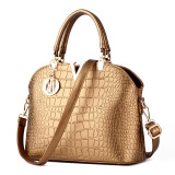 Crocodile Pattern Shell Bag Shoulder Messenger Bag Women Bags Gold Compare Prices
