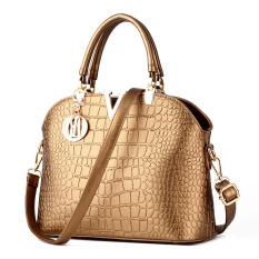 Review Crocodile Pattern Shell Bag Shoulder Messenger Bag Women Bags Gold China
