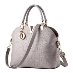 Buy Crocodile Pattern Shell Bag Shoulder Messenger Bag Women Bags Grey Online