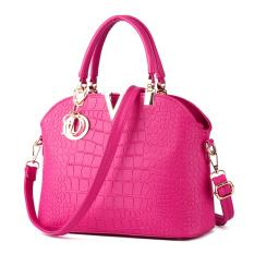 Buy Crocodile Pattern Shell Bag Shoulder Messenger Bag Women Bags Rose Red