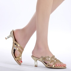Sales Price Crystal Semi High Heeled Thin Heeled Outdoor Sandals Golden