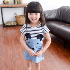 Great Deal Cute Kids Striped Mouse Dress Chun Qiu Zhuang Dress Short Sleeved Cowboy Blue Short Sleeved Cowboy Blue
