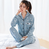 Sale Cute Women S Spring And Autumn Female Household Clothing Cotton Pajamas Blue Green On China