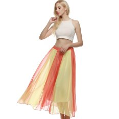 Buy Sale At Breakdown Price Cyber Acevog Bohemian Style Women Swing Flowing Maxi Full Chiffon Beach Skirt Orange Export On Hong Kong Sar China