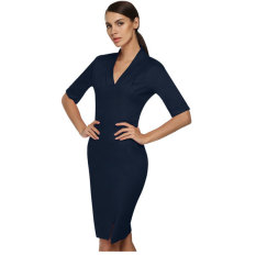 Sale At Breakdown Price Cyber Acevog S*xy Ladies Women Elegant V Neck Medium Sleeve Slim Dress Summer Navy Blue Shop