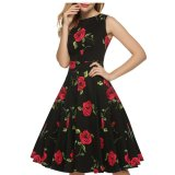 Sale Sale At Breakdown Price Cyber Acevog Stylish Lady Women S Casual Sleeveless Floral Printed Mid Calf Length Party Cocktail Evening Dress Acevog Branded