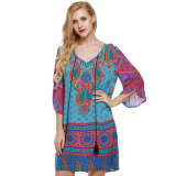 Cyber Acevog Women Ethnic Vintage Style Bohemian Neck Tie Floral Print Summer Casual Shift Dress Blue On Line