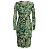 Sale Sale At Breakdown Price Cyber Angvns Leopard V Neck Long Sleeve Bodycon Stretch Dress Green Intl Angvns Original