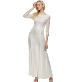 Lowest Price Sale At Breakdown Price Cyber Angvns Women Lace 2 3 Sleeve Bridesmaid Homecoming Long Gown Maxi Cocktail Party Evening Fromal Dress White Intl