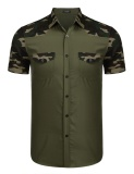Sale At Breakdown Price Cyber Big Discount Men Short Sleeve Camouflage Patchwork Casual Shirts Army Green Intl On Line