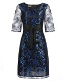 Price Comparisons Sale At Breakdown Price Cyber Big Discount Women 3 4 Sleeve Bow Cocktail Party Slim Floral Lace A Line Dress Blue Intl