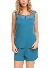 Best Rated Sale At Breakdown Price Cyber Big Discount Women Pajamas Set Lace Patchwork Tank Top And Shorts Lounge Sleepwear Peacock Blue Intl