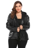 Cyber Big Discount Women Plus Size Hooded Long Sleeve Faux Leather Jacket Black Intl Deal