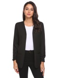 Sale At Breakdown Price Cyber Big Discount Women Ruched Long Sleeve Open Front Casual Office Blazer Jacket Black Intl Coupon