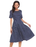 Brand New Sale At Breakdown Price Cyber Big Discount Women Vintage Style Short Sleeve Plaid Dot Party Swing Midi Dress W Pocket Floral Intl