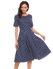 Sale At Breakdown Price Cyber Big Discount Women Vintage Style Short Sleeve Plaid Dot Party Swing Midi Dress W Pocket Floral Intl Not Specified Discount