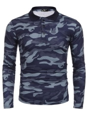 Who Sells Cyber Clearance Sale Men Long Sleeve Camouflage Casual Polo Shirts Intl