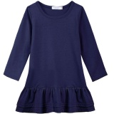 Sale At Breakdown Price Cyber Clearance Sale New Kids Girls Casual Solid Long Sleeve Ruffle Hem Dress Dark Blue Intl Free Shipping