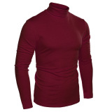 Top Rated Cyber Coofandy Men Fashion Slim Fit Thermal Underwear Turtleneck Long Sleeve Solid T Shirts Wine Red Intl