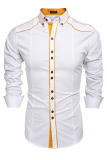 Cyber Coofandy Men Fashion Turn Down Collar Long Sleeve Contrast Color Cotton Button Down Casual Shirts White Reviews