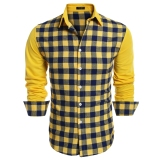 Sale Cyber Coofandy Men Fashion Turn Down Collar Long Sleeve Plaid Patchwork Button Down Casual Shirts Yellow Intl Not Specified