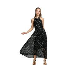 Cheaper Cyber Elegant Women Chiffon Dot Maxi Full Long Dress Sleeveless With Belt Black