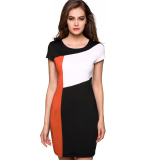 Sale At Breakdown Price Cyber Finejo Ladies Women Cap Sleeve Patchwork Stretch Bodycon Package Hip Casual Party Slim Dress Orange Deal