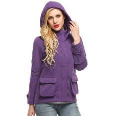 Best Price Sale At Breakdown Price Cyber Finejo Women Long Sleeve Zip Up Solid Fleece Hooded Jacket Purple