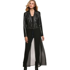 Cheaper Sale At Breakdown Price Cyber Finejo Women Rock Style Leather Coat Chiffon Hem Detachable Long Sleeve Slim Casual Long Overcoat Jacket Black