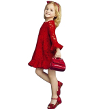 Promo Sale At Breakdown Price Cyber Kids Children Baby G*rl Long Sleeve High Waist Hollow Floral Lace Ruffle Solid Short Dress Red