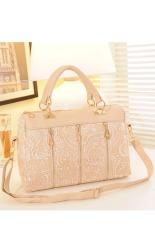 Coupon Cyber Korean Women Pu Leather Messenger Bag Tote Shoulder Bag Lace Handbag Beige