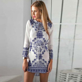 Cyber Lady Women 3 4 Sleeve Splicing Color Porcelain Print Irregular Hem Mini Dress With Belt Silver Intl Deal