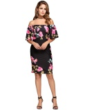 Sale At Breakdown Price Cyber Low Profit Bell Sleeve Off The Shoulder Floral Pencil Dress Black Intl Compare Prices