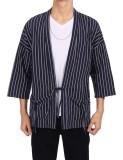 Price Comparison For Cyber Low Profit Men Cotton Drop Shoulder Striped Lace Up Casual Kimono Cardigan With Pocket Black Intl